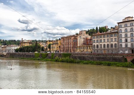 Houses On The Bank Of The River Of Arno, Florence, Italy