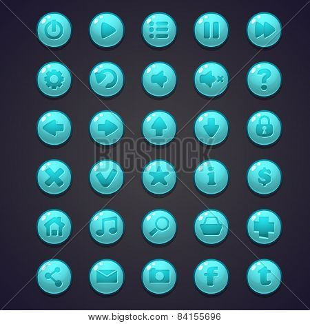 Set Of Blue Round Buttons For The User Interface