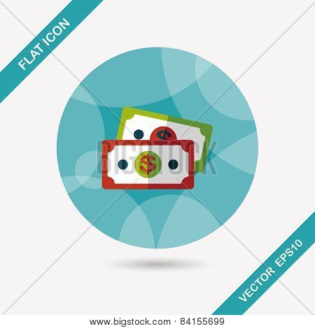 Shopping Money Cash Flat Icon With Long Shadow,eps10