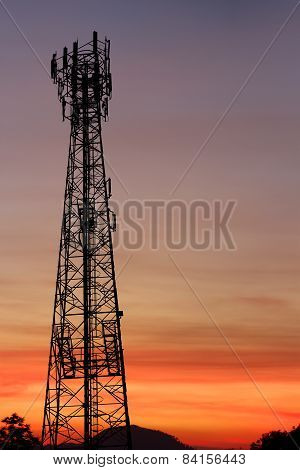 Silhouette Communication Tower Telecoms At Sunset