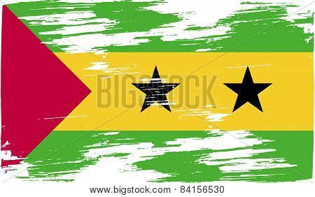 Flag Of Sao Tome And Principe With Old Texture. Vector