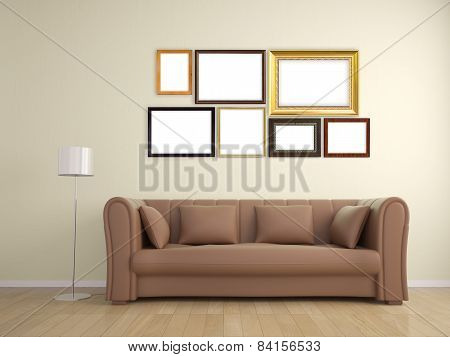 Picture Frame On Wall And Sofa Furniture Interior Design