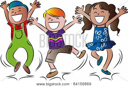 vector drawing happy kids jumping