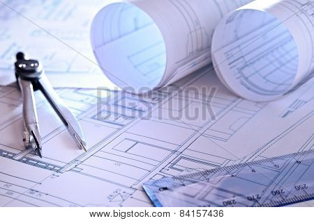 Architectural Plans Of A Dwelling Close Up