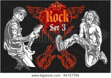 Rock-stars on rock concert - vector set