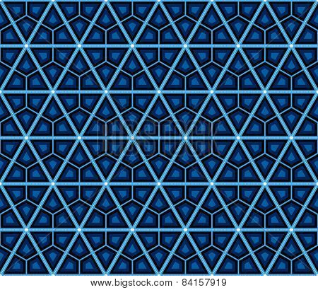 Blue, Seamless, Geometrical, Pattern, Ornament