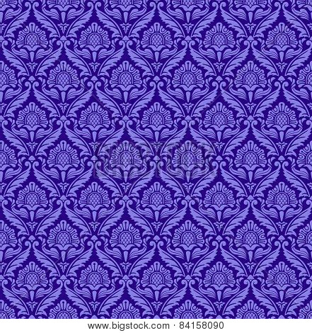Seamless vector baroque pattern with purple flowers.
