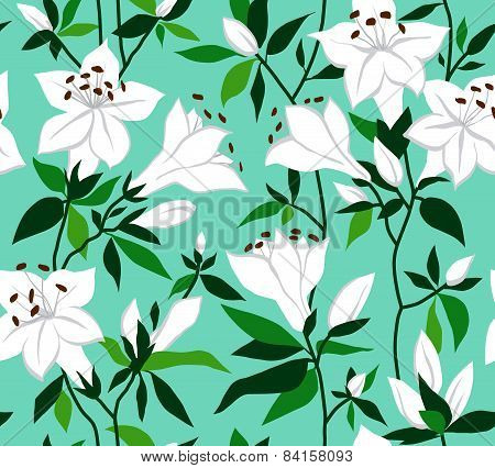 Seamless vector vintage pattern with azalea flowers.