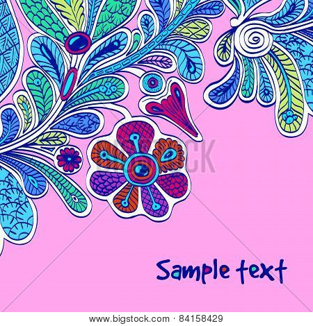 Ethnic vector card in persian style on magenta background.