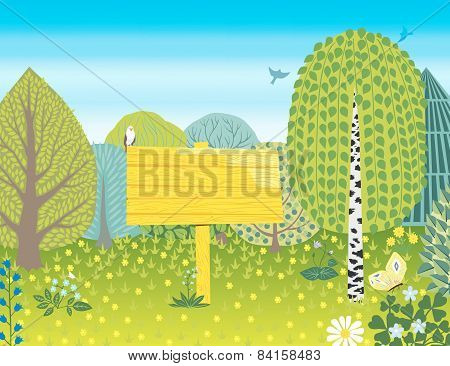 Decorative vector landscape with trees, bush and flowers.