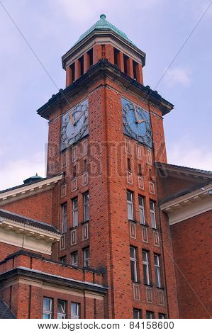 Neo-Gothic tower red-brick building