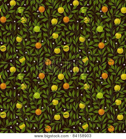 Seamless vector pattern with branches, leafes and fruites
