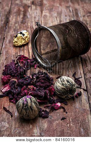 Tea Strainer And Tea Leaves