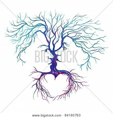 tree in the form of men and women vector illustration painted watercolor