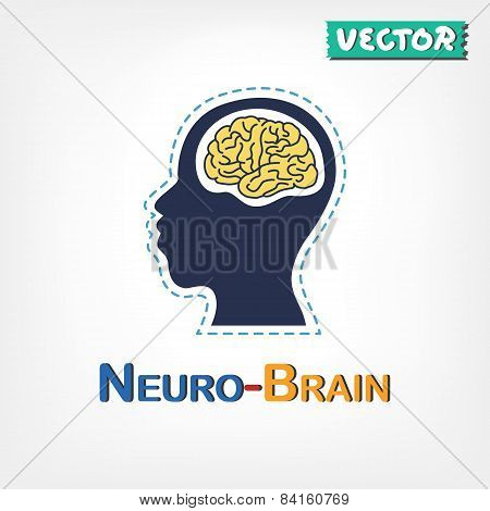 Brain ( Neurological Symbol ) ( Flat Design )