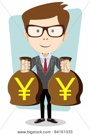 Successful businessman with bags of money, vector illustration