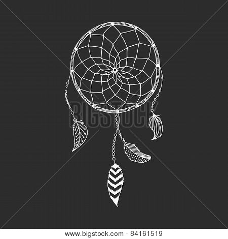 Vector hand drawn Dreamcatcher, tribal design