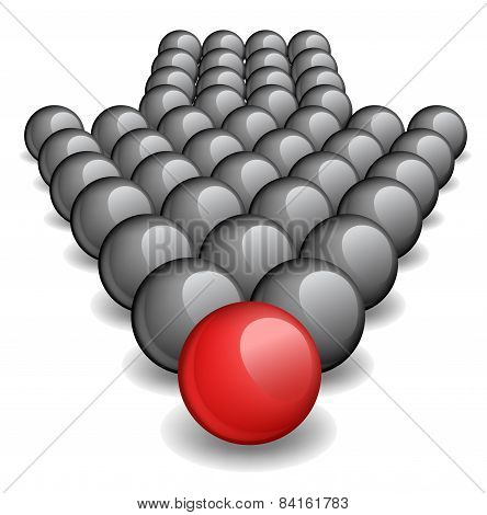 Arrow made up of gray balls with one red ball standing ahead the rest
