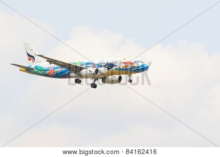 Thailand,bangkok-mar 3:bangkok Air Thai Local Airlines Plane Flying Above Suvarnabhumi Airport Runwa