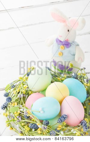 Wicker Nest With Easter Eggs