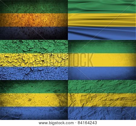 Flag Of Gabon With Old Texture. Vector