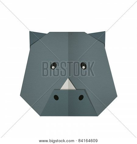 origami paper a rhino (face)