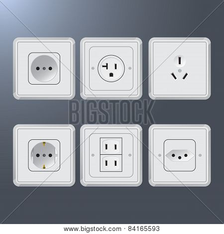 Set of electrical socket different contries