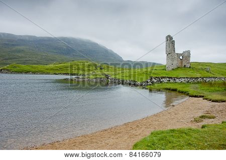 View Of Ardvreck Castle In Scotland In Cloudy Day