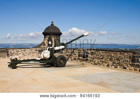 Edinburgh Castle Cannon In Sunny Day