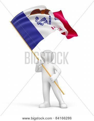 Man and flag of Iowa (clipping path included)