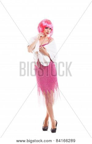 Pink hair girl dressed as Merelyn Monroe isolated on white background