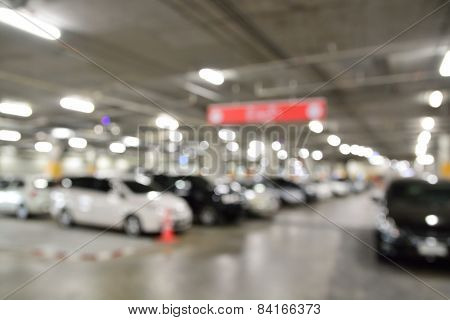 Blur Or Defocus Image Of Underground Parking Lot