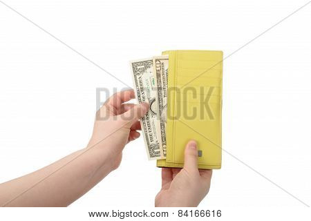 Hand Took Some Bills Out Of A Wallet