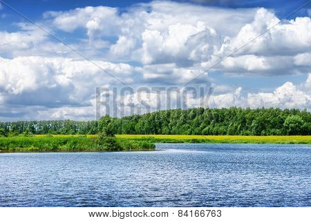 Beautiful summer river landscape in cloudy day