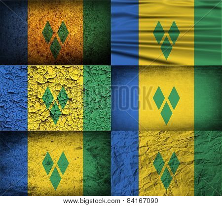 Flag Of Saint Vincent And The Grenadines With Old Texture. Vector