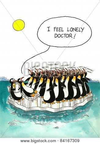 Cartoon gag about penguins' crowd