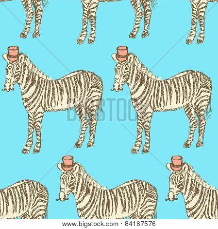 Sketch Fancy Zebra In Vintage Style