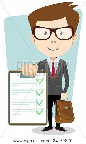 Successful young businessman with the document, vector illustration