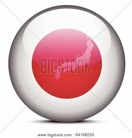Map On Flag Button Of State Of Japan