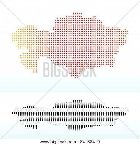 Map Of  Kazakhstan With Dot Pattern