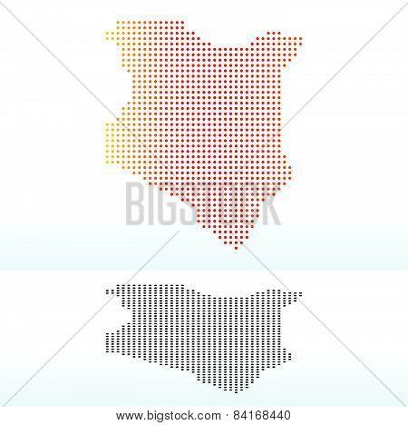 Map Of Kenya With Dot Pattern