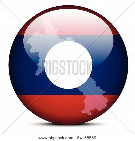 Map On Flag Button Of Laos