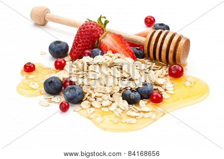 Oats, Fruits And Honey.
