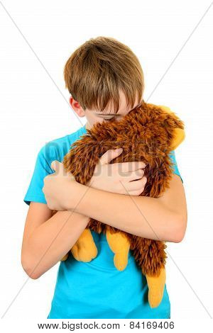 Sad Kid With Plush Toy