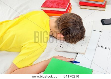 Tired Kid Doing Homework