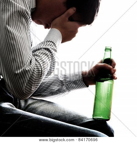 Sad Man In Alcohol Addiction