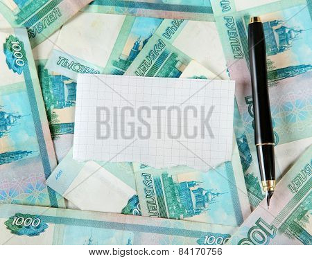 Russian Currency And Blank Paper