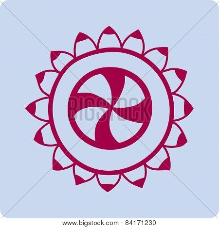 Flower In Circle.Ornamental. Lace In Circle, Sun, Icons.