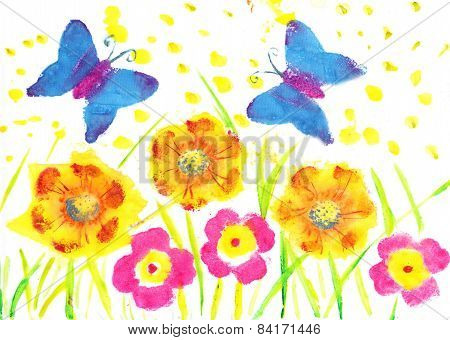 This Artwork Butterfly Batik. Child Drawing Watercolor Flowers, Dandelions, Poppies
