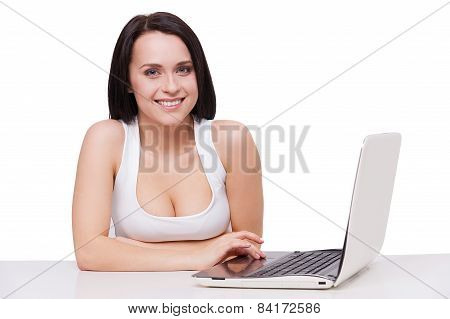 Beauty With Laptop.